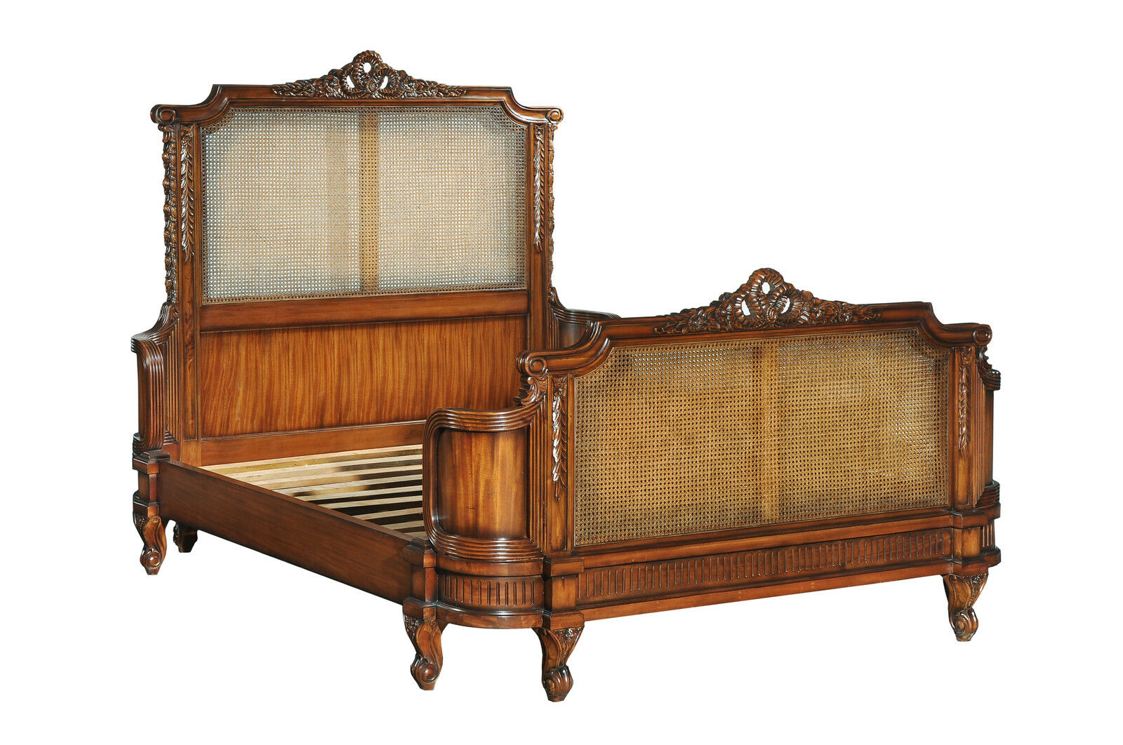 5' King Size Antoinette French Caned Bed Solid Mahogany Wax CFR0009 NEW