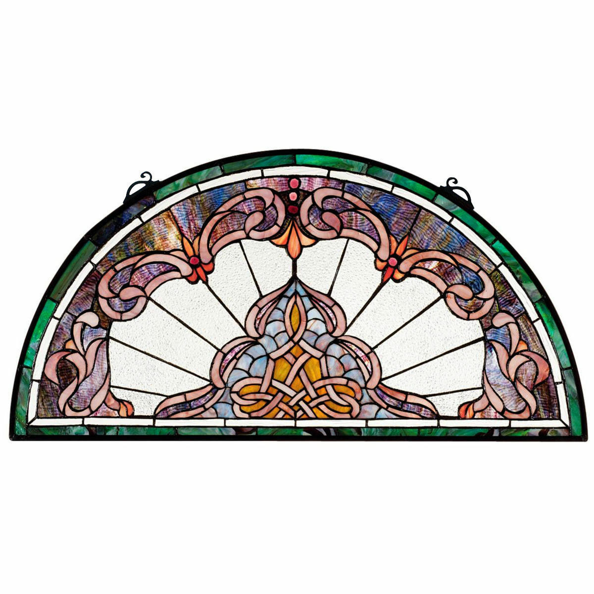 """32.5"""" Half Moon Demi Lune Hand Crafted Victorian Style Stained Glass Window"""