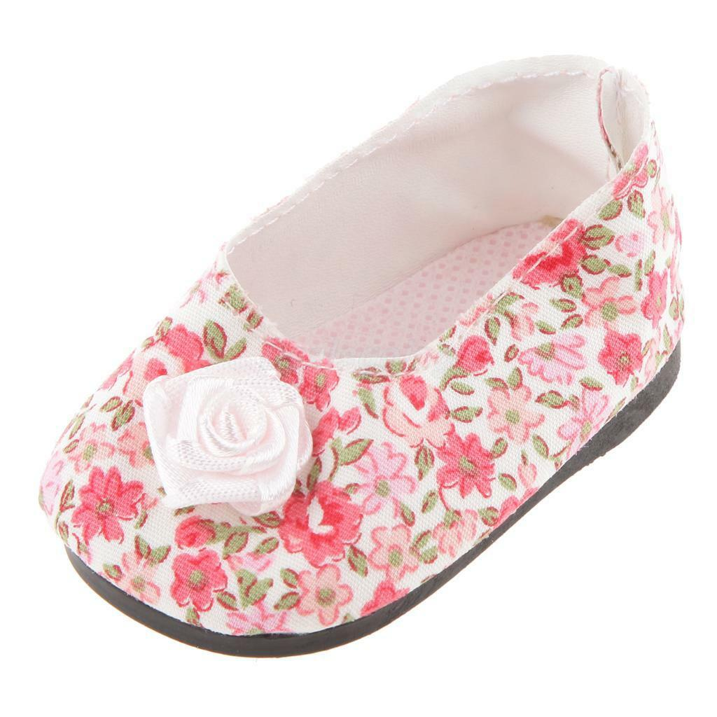 Cute Pink Floral Flower Party Shoes Fits 18 Inch American Girl Doll
