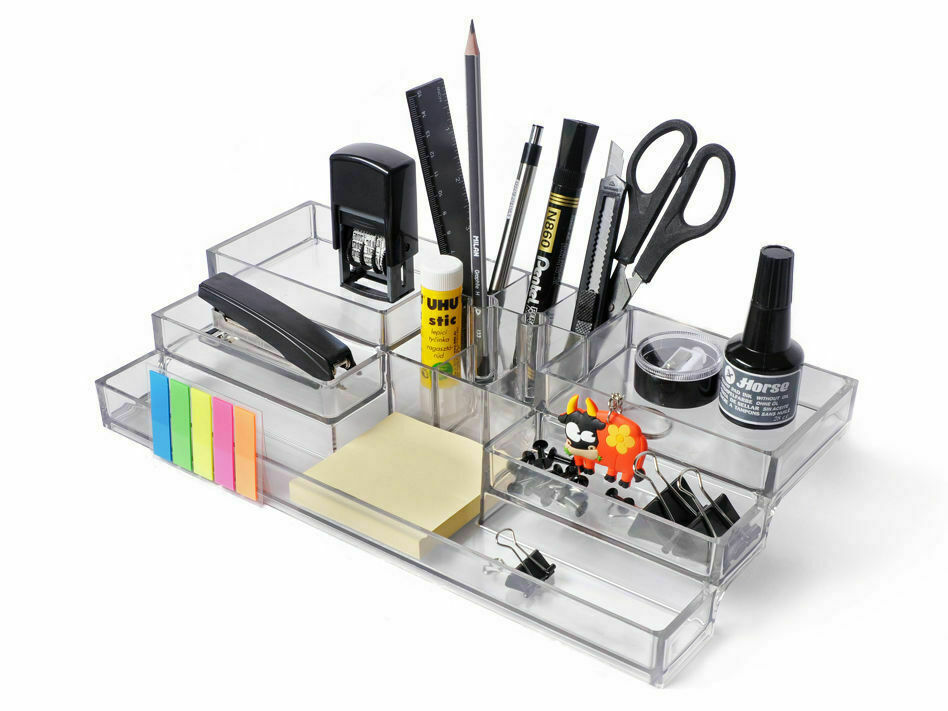 acryl b ro schreibtisch organizer b robedarf stift halter. Black Bedroom Furniture Sets. Home Design Ideas