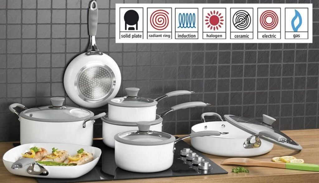 7 Piece Professional White Cookware Set Non Stick