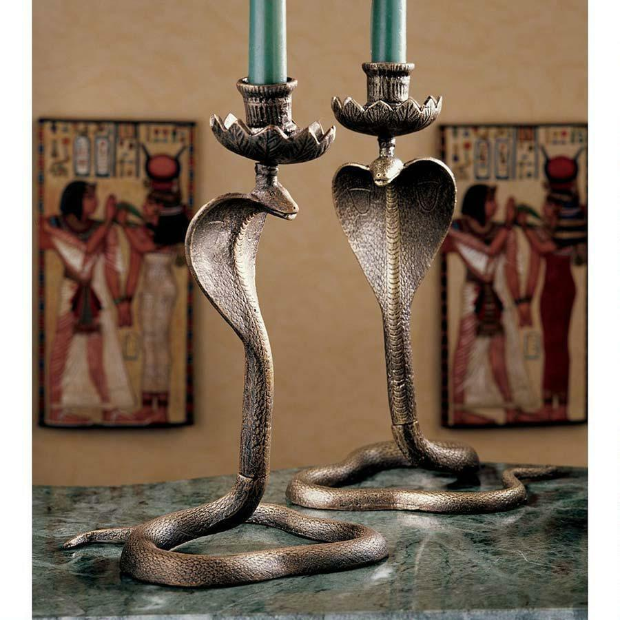 Ancient Egyptian Symbol Of Protection Serpent Cobra Candle W/ Flared Hoods Hold