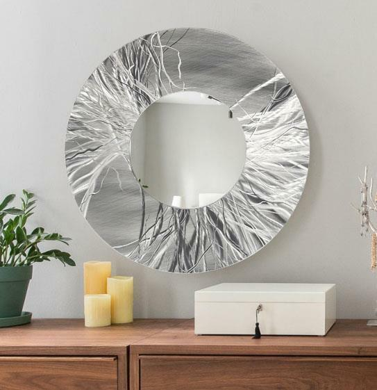 ABSTRACT HAND-ETCHED SILVER Metal Wall Art Mirror Round Wall Mirror ...