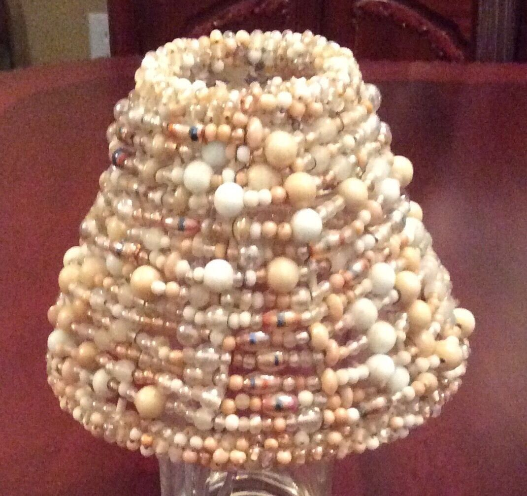 """Gorgeous Unusual Vintage Cream White Beaded Wire 4 1/4""""  Clip On Shade"""