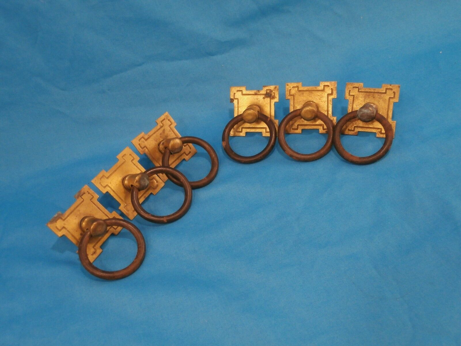 """Antique Arts Crafts 6pc Set Brass Square Plate Ring Handle 1.5""""S Drawer Pulls"""