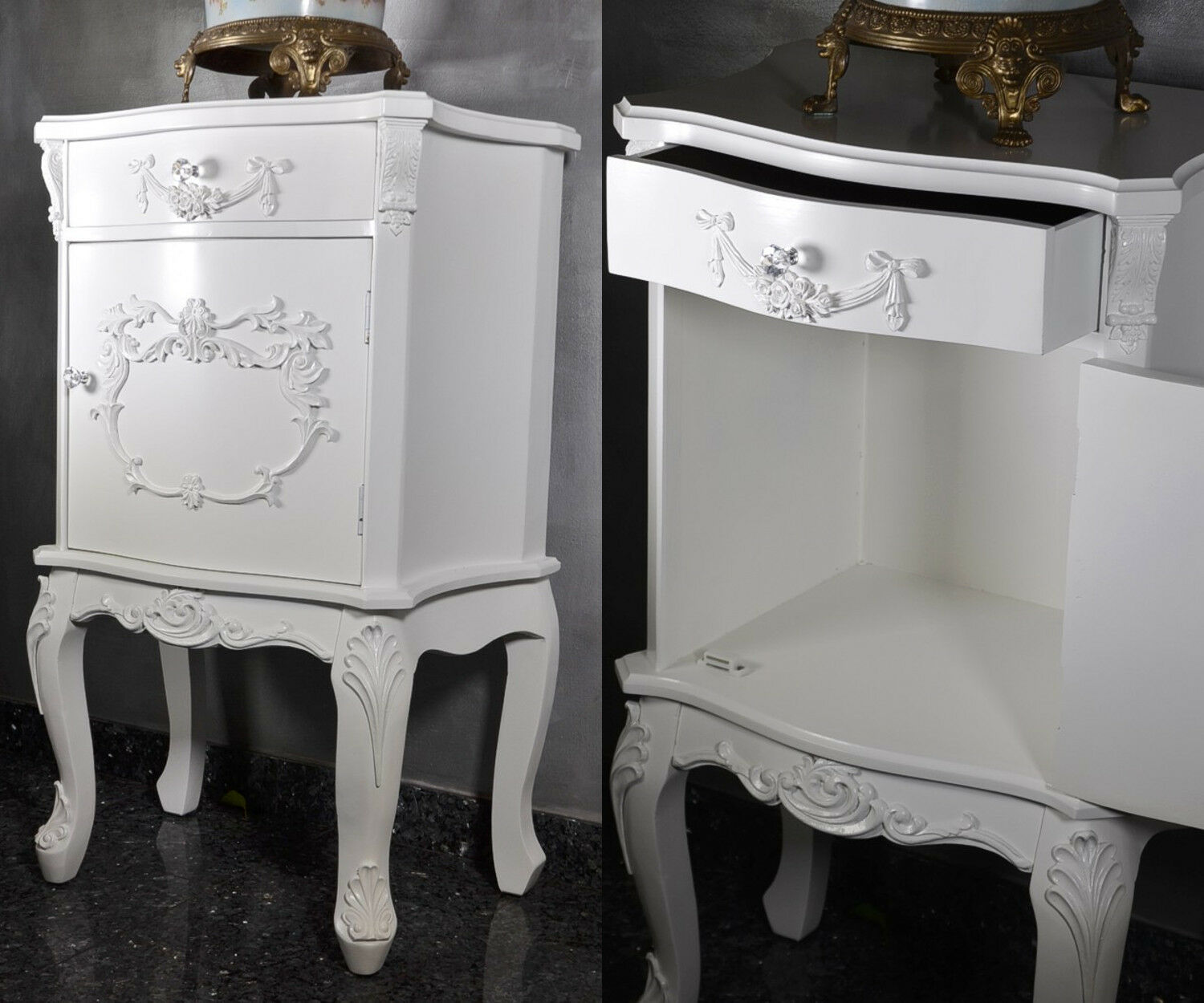 French Style Bedside Table Cabinet Chest Of Drawers White Merie Antoinette Retro