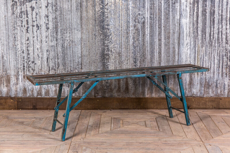 Vintage Folding Bench Industrial Blue Metal Bench Restaurant Bench Seating
