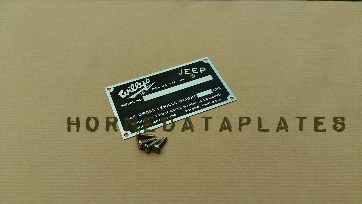 Willys Jeep Serial Number Data Plate Pick Up Station Wagon M677 Cj3b Wiring Harness 1 Of See More
