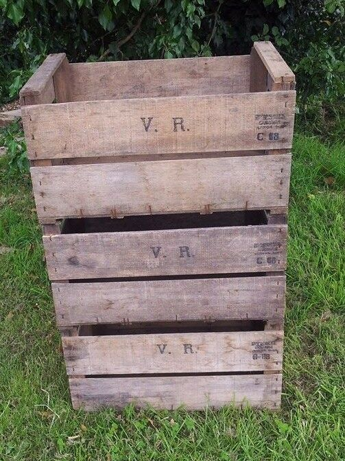 6 X Vintage French Vr Wooden Farm Apple Crates Bushel Box Book Shelf Racking