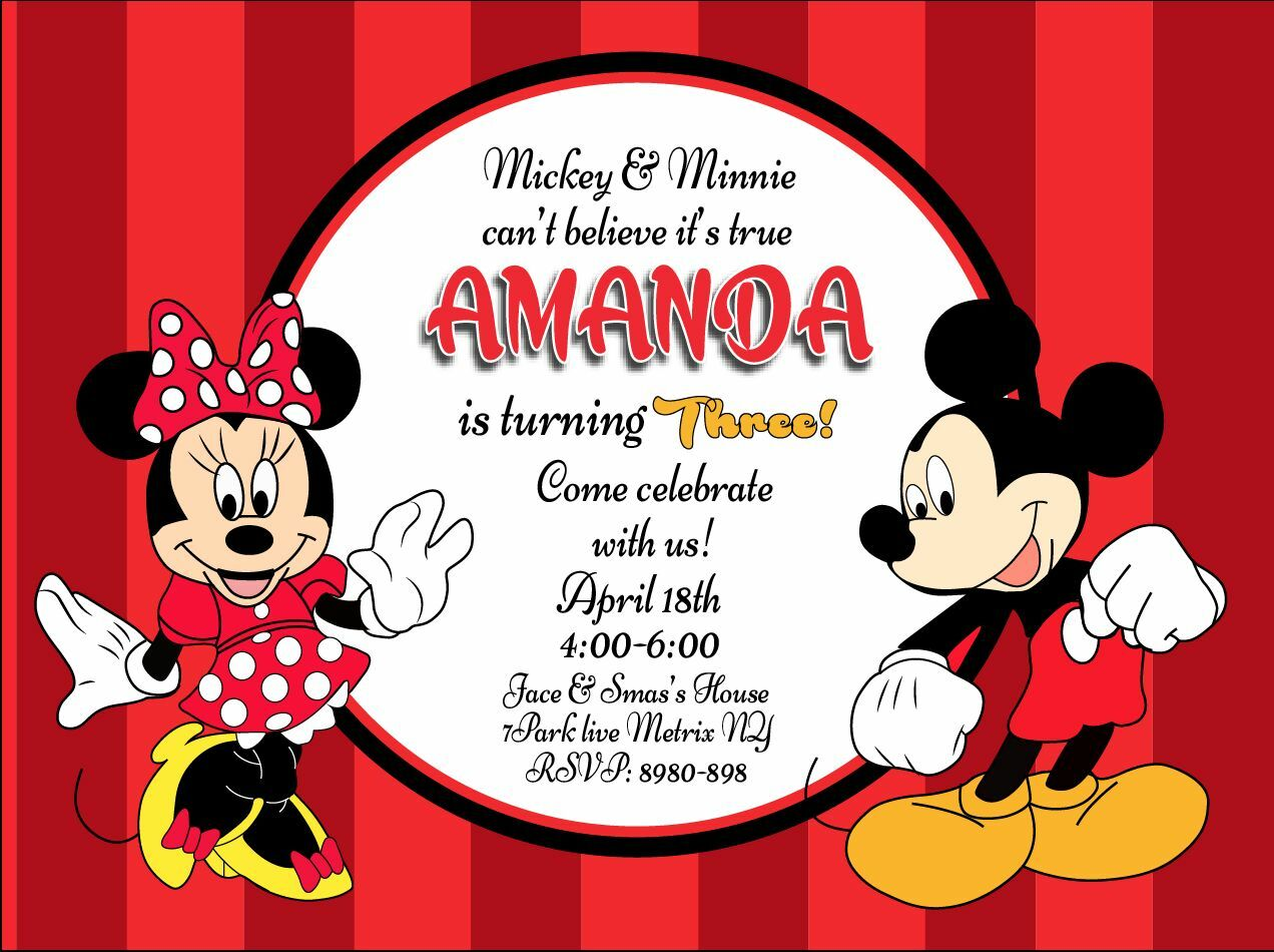 PERSONALISED MICKEY MOUSE Minnie Mouse Birthday Party Invitation ...