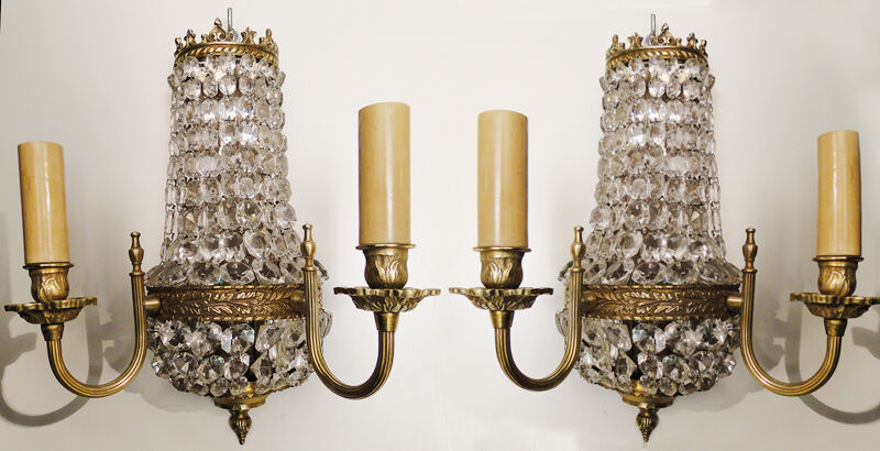 Antique French empire style bronze  and crystal pair of sconces
