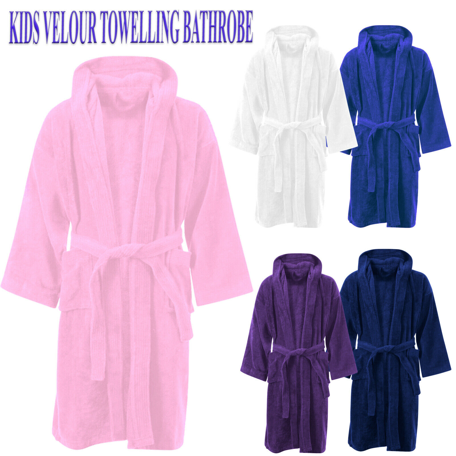 KIDS BATHROBE BOYS Girls 100% Egyptian Cotton Towelling Dressing ...