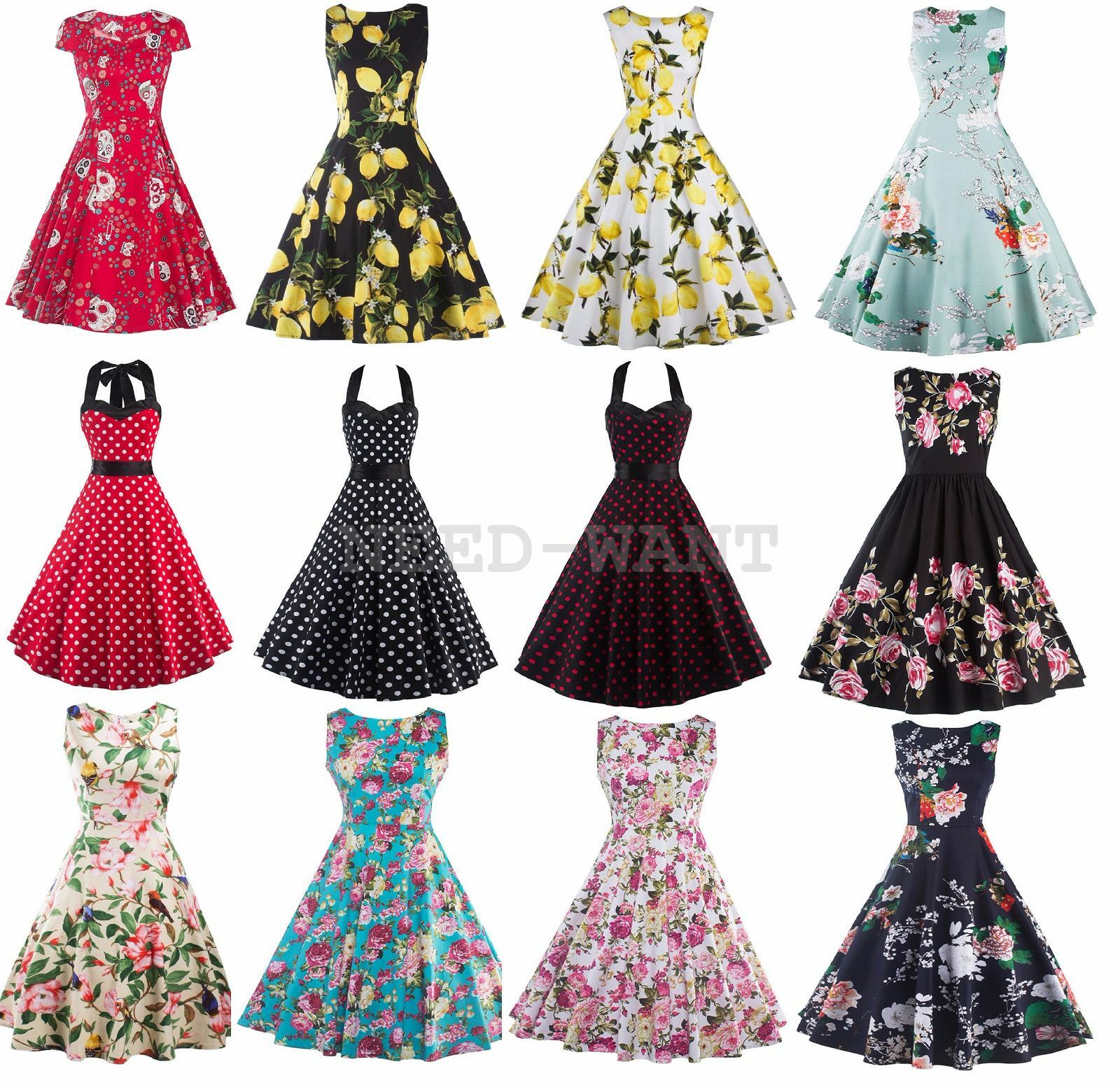womens 1950s 60s vintage floral style rockabilly cocktail