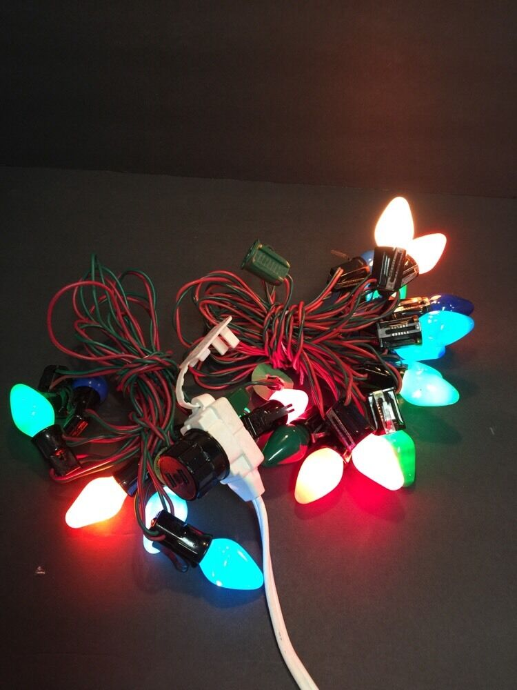 2 strings vintage wire c7 christmas tree light strands strings bulbs plus extra