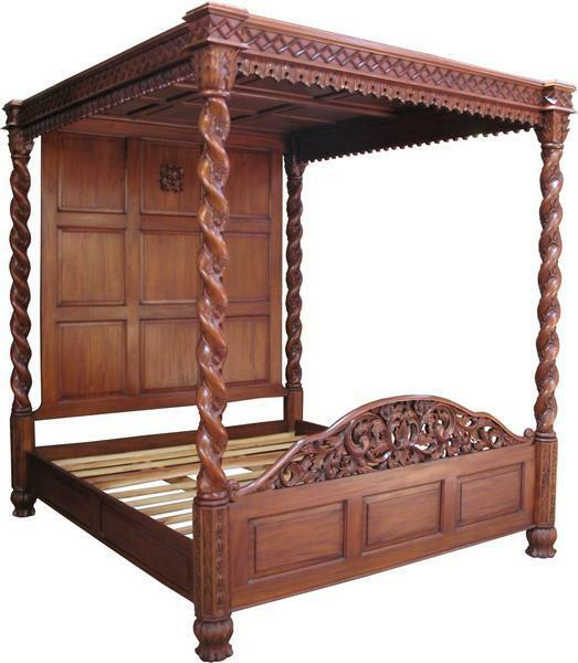 5' King Size Janna Four Poster Bed Solid Mahogany Hand Carved Traditional B019