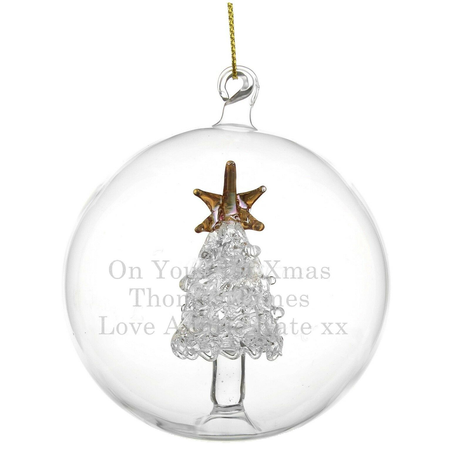 Personalised engraved glass christmas tree bauble for Personalised christmas decorations
