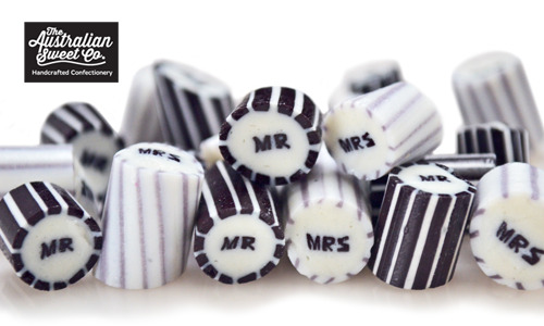 Mr and Mrs Rock Candy Bulk Lollies Wedding Favours Birthday Party Valentine
