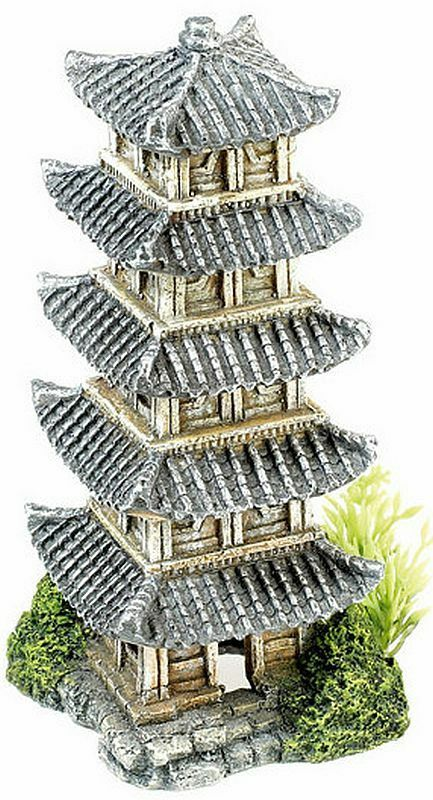 Asian Temple Tower with Artificial Plants Chinese Japanese Aquarium Ornament