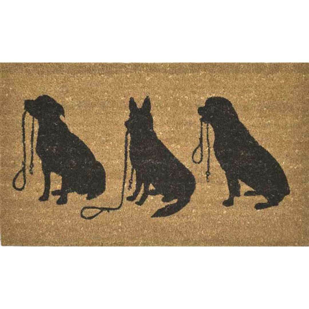 Door Mat 3 Dogs 45cm X 75cm Heavy Duty Entrance Doormat