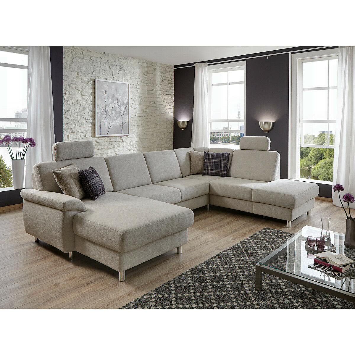 wohnlandschaft winston ecksofa sofa polsterm bel u form in grau wei 321 cm eur 999 95. Black Bedroom Furniture Sets. Home Design Ideas