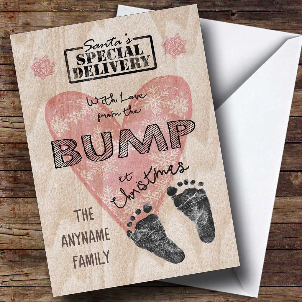 WITH LOVE FROM The Bump Pregnant Personalised Christmas Card - £3.49 ...