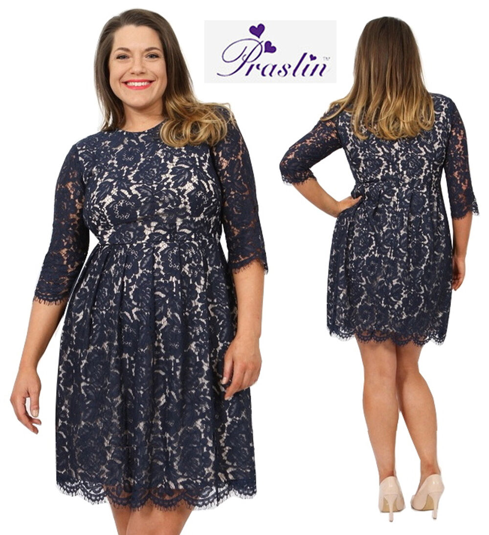 LADIES PRASLIN Plus Size Navy Lace Party Dress New Size 16 ...