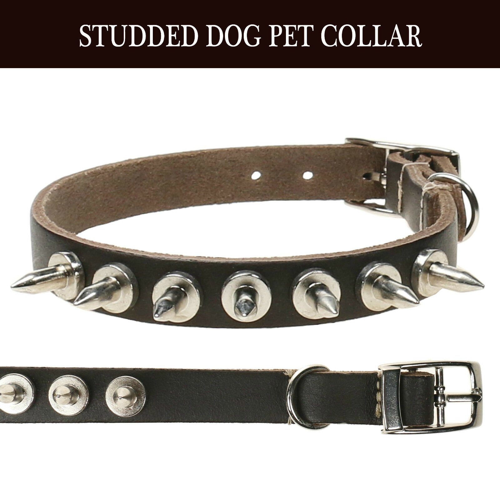Adjustable Strong Real Leather Dog Collar  Pet Puppy Studded Spike Made In UK