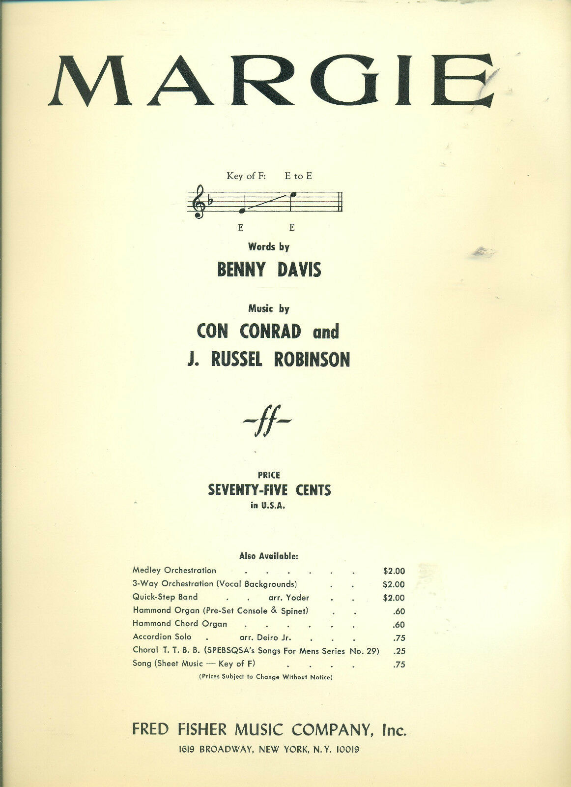 Margie Pianovocalguitar Chords Sheet Music Collectors Item On