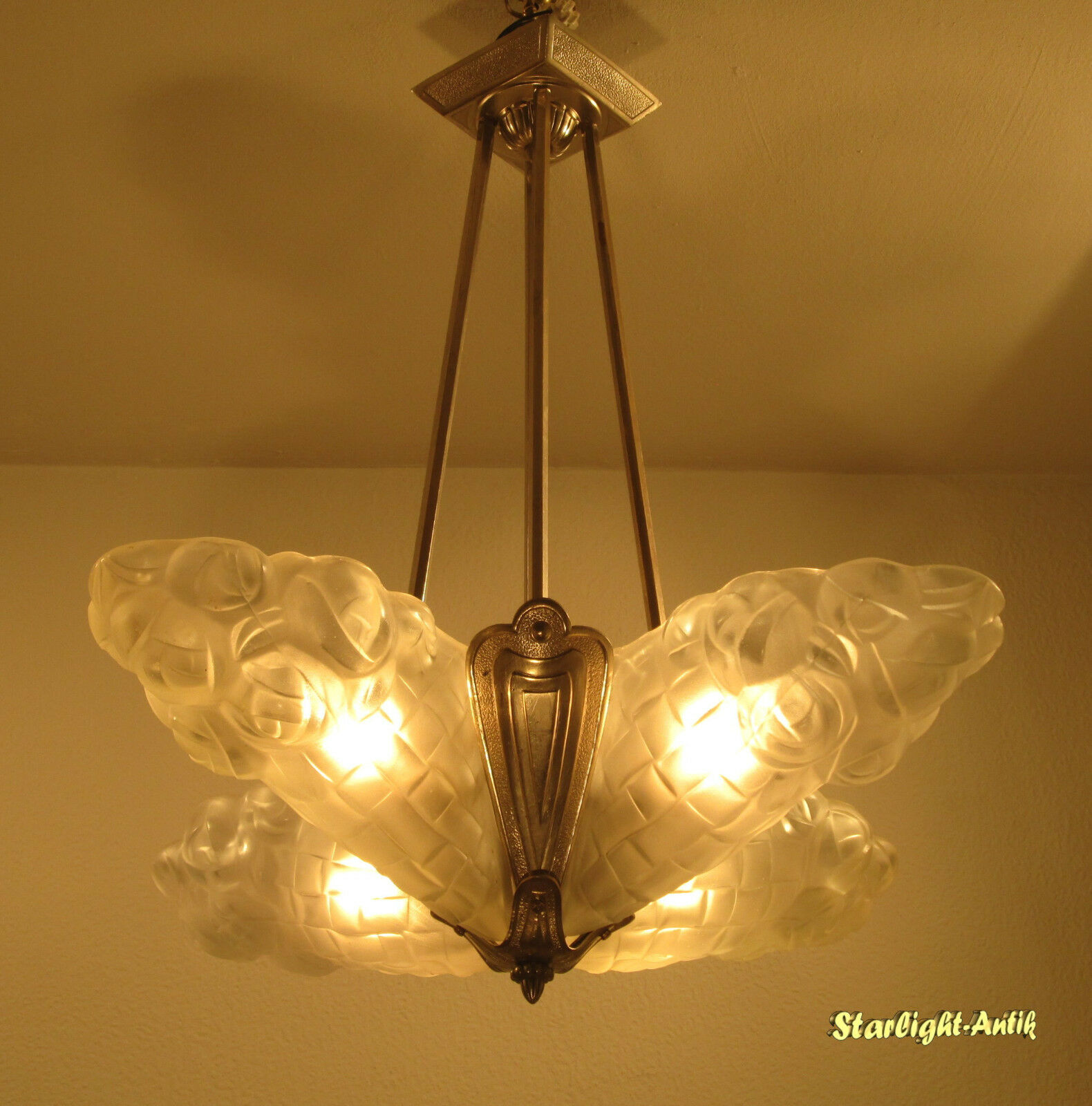 Stunning French Art Deco Chandelier 1925 - Signed: Degué