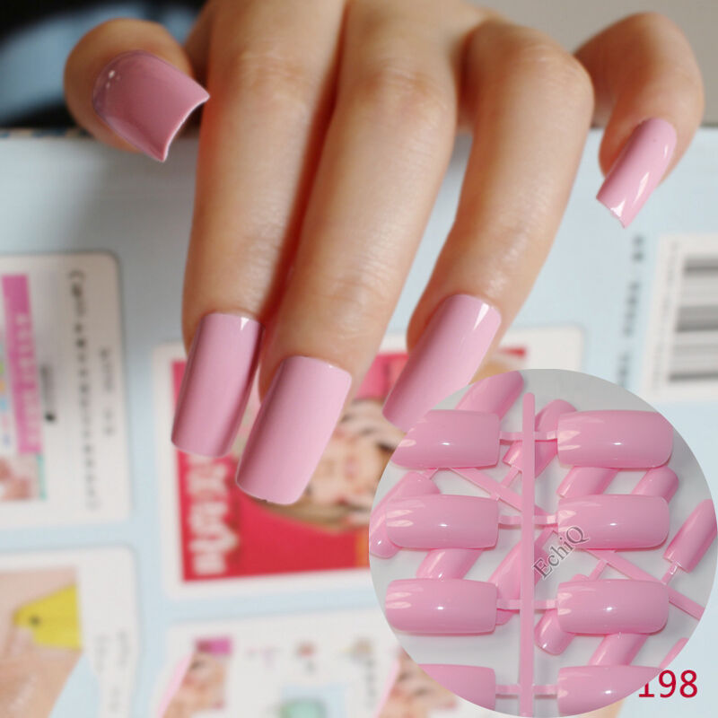 24PCS FLAT EXTRA Long Acrylic Nail Tips Princess Pink Fake Nails ...
