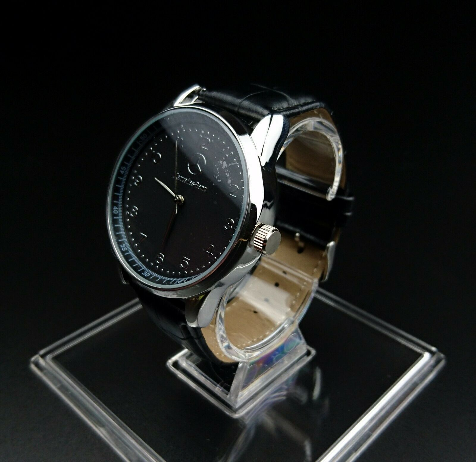 Mercedes benz mens watch stainless steel black leather for Mercedes benz watch