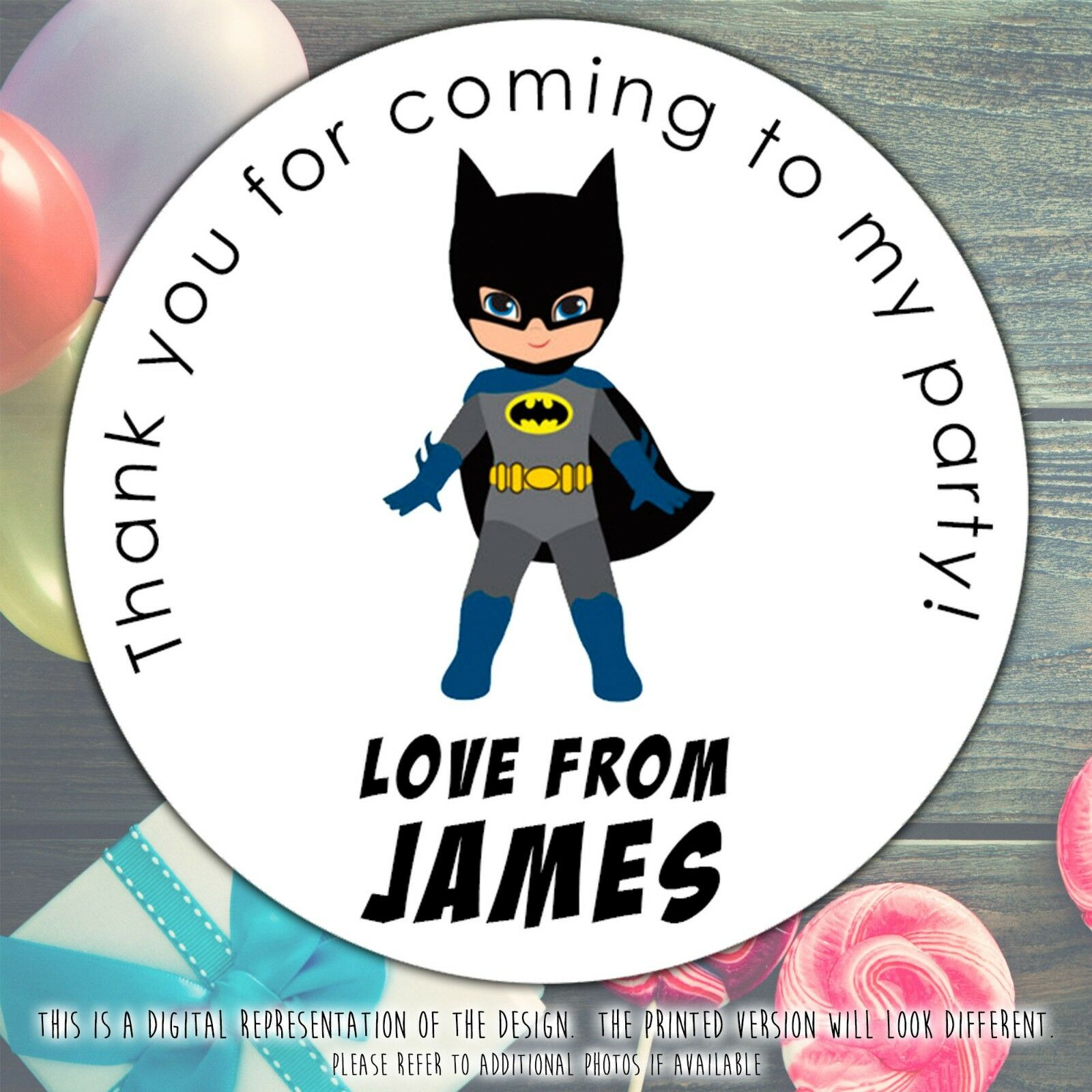 Personalised BATMAN Birthday Party Sweet Cone Gift Bag Sticker Label Seal 1 Of 4FREE Shipping