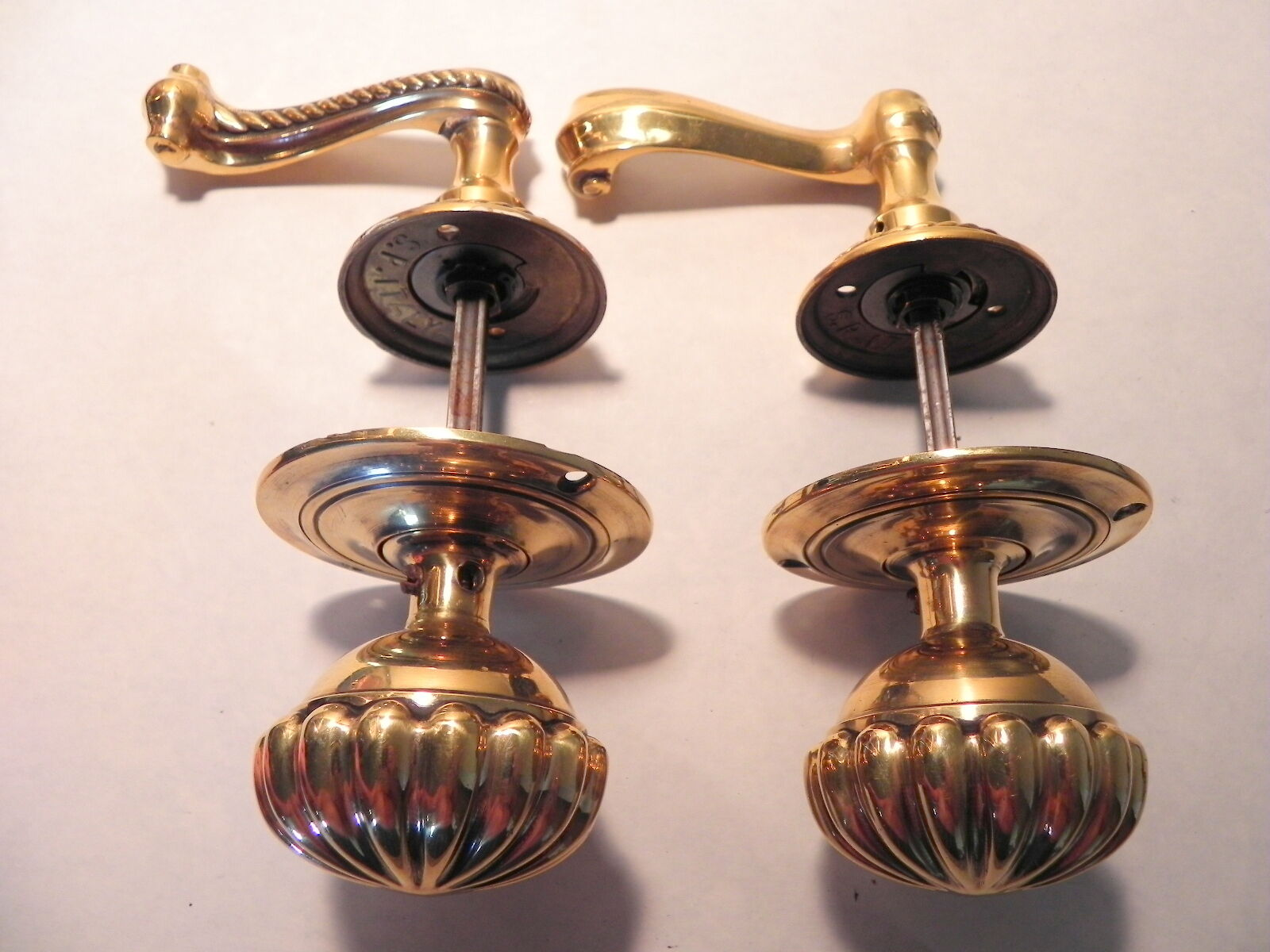 Vintage & Rare Set Of Large Fancy Solid Brass Door Knobs, Made In Italy