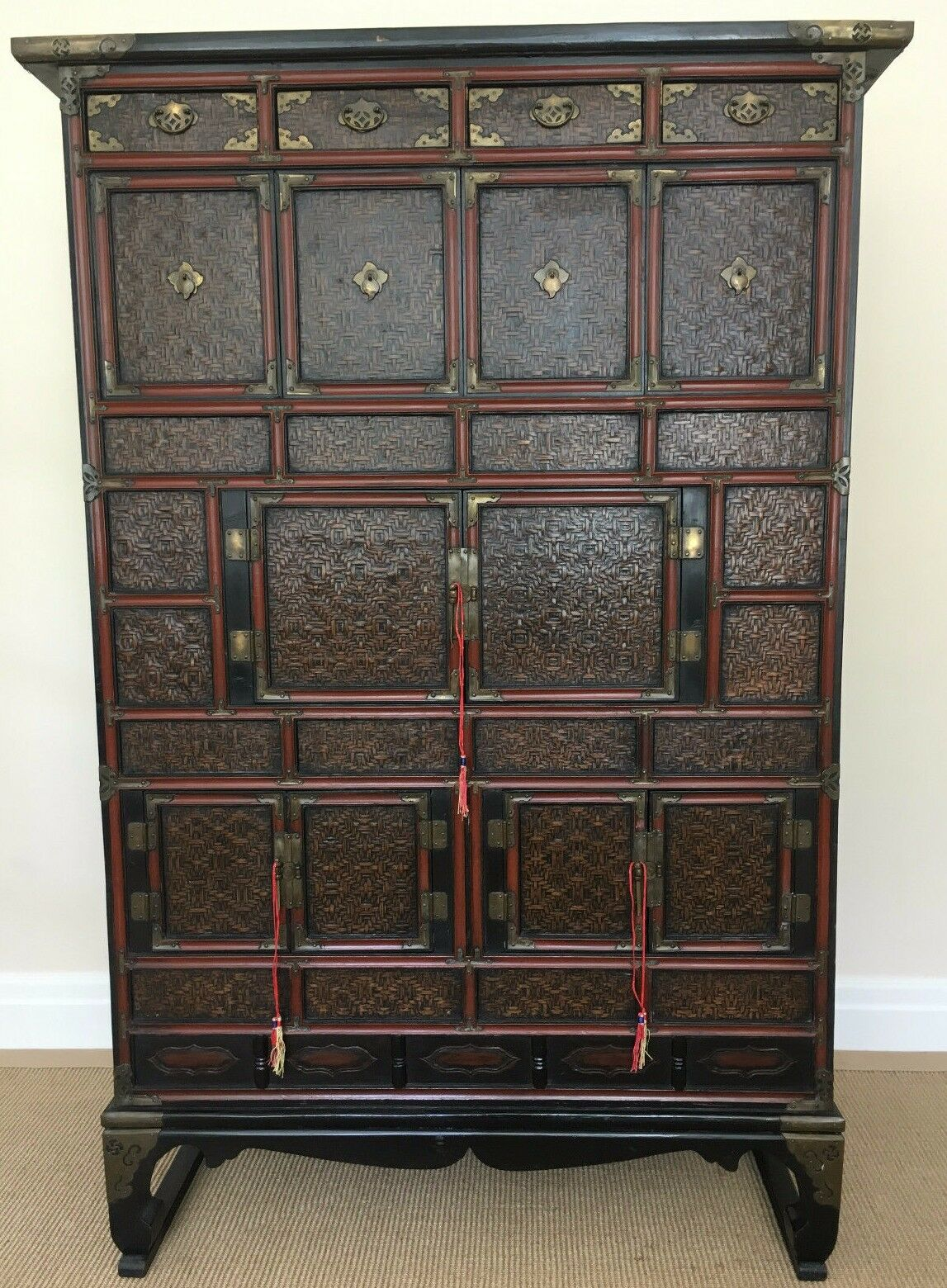 Early 20th Century Chinese Cane Fronted Cabinet