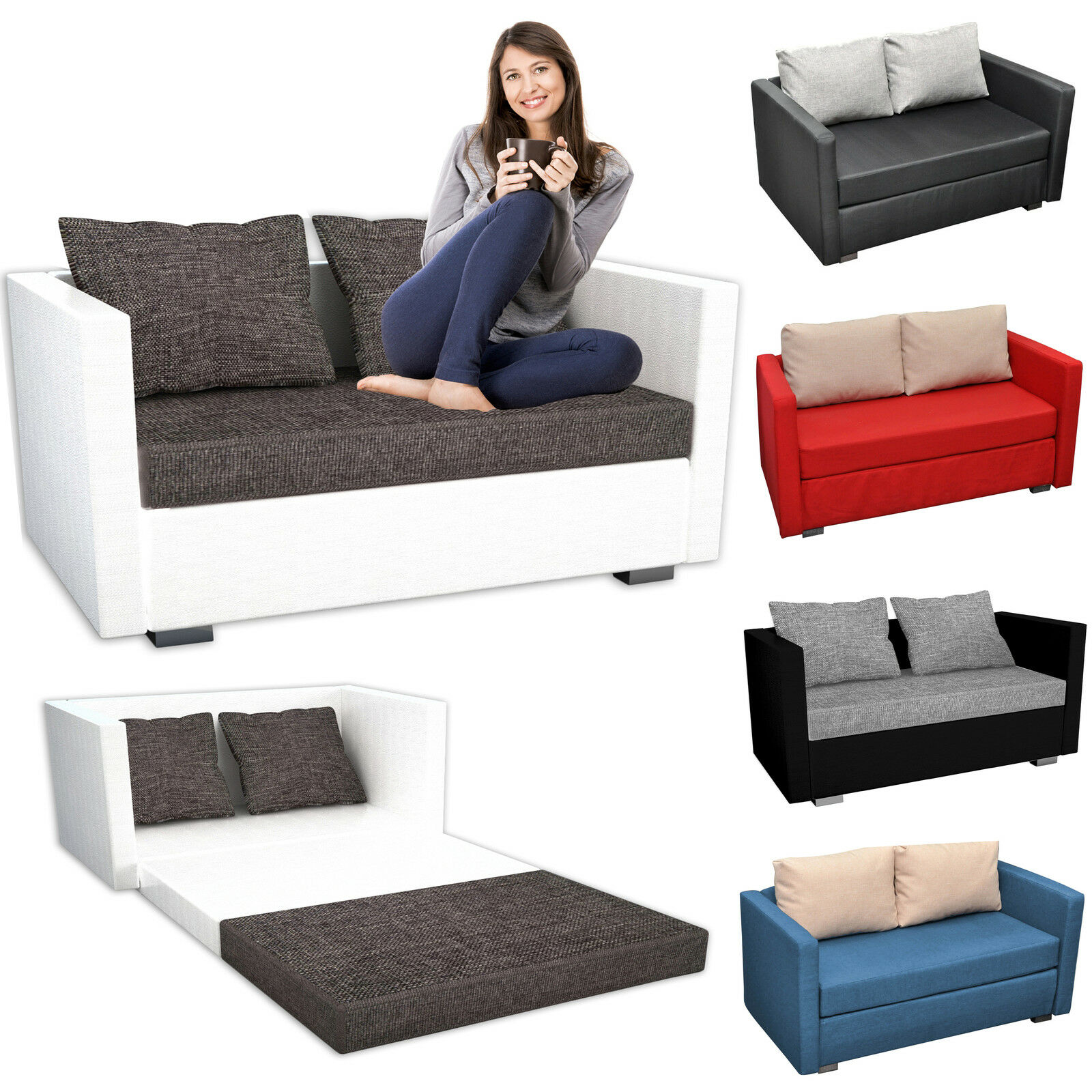 vcm 2er schlafsofa sofabett couch sofa mit schlaffunktion material und farbwahl eur 229 00. Black Bedroom Furniture Sets. Home Design Ideas