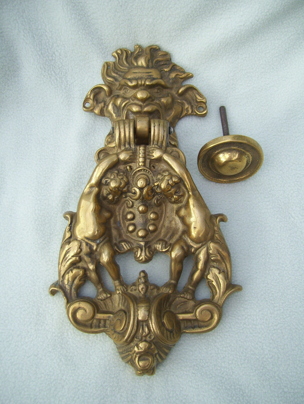 Brass North Wind with Cherubs and Ram Door Knocker with original matching knob