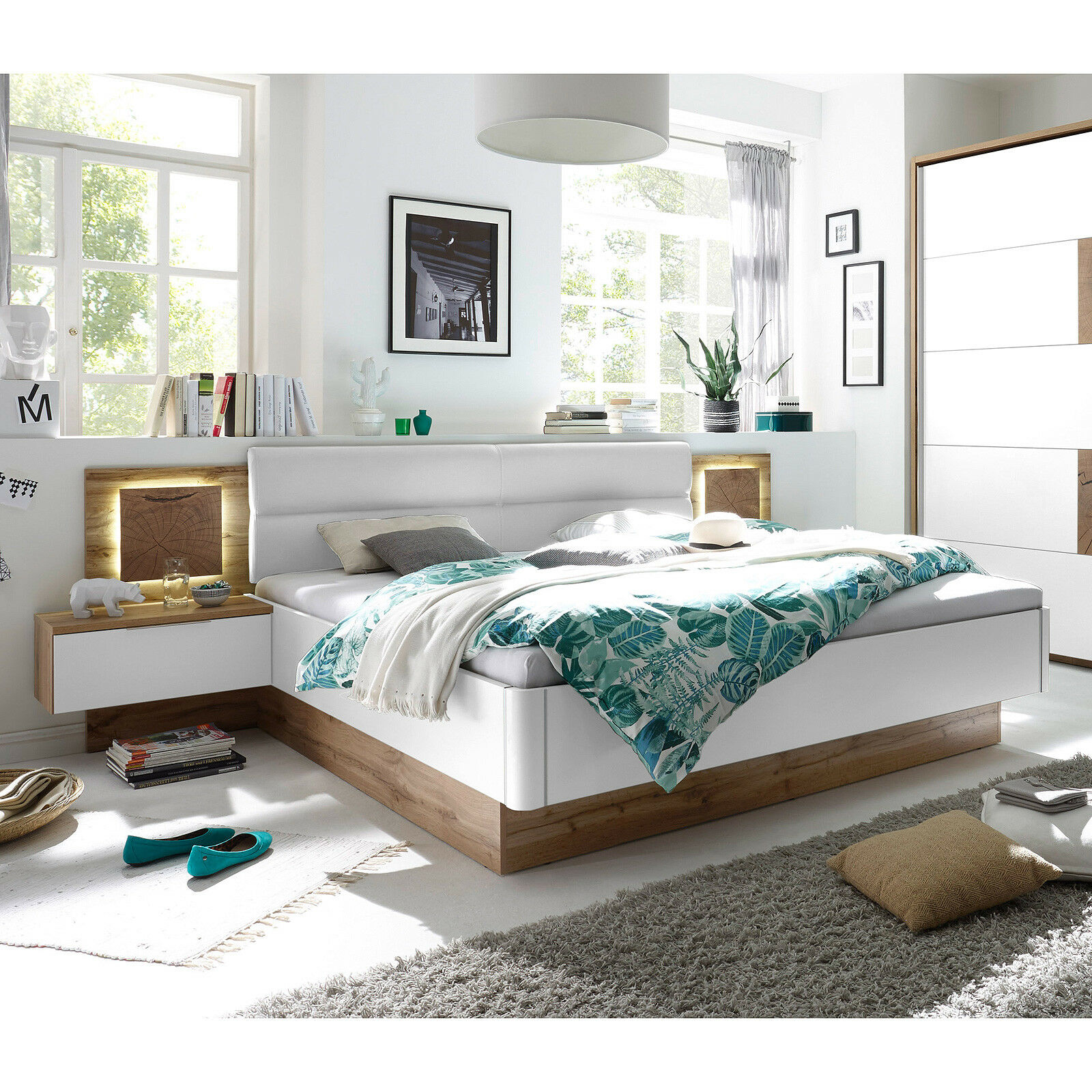 bettanlage capri wildeiche wei hirnholz mit 2 nachtkommoden inkl led 180x200 eur 449 95. Black Bedroom Furniture Sets. Home Design Ideas
