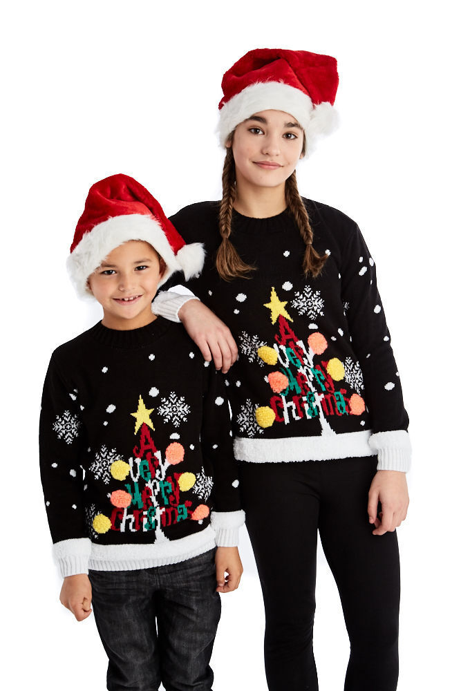 2016 Kids 3D Novelty Christmas Tree Jumper Boys Girls Crew Neck Xmas Sweater