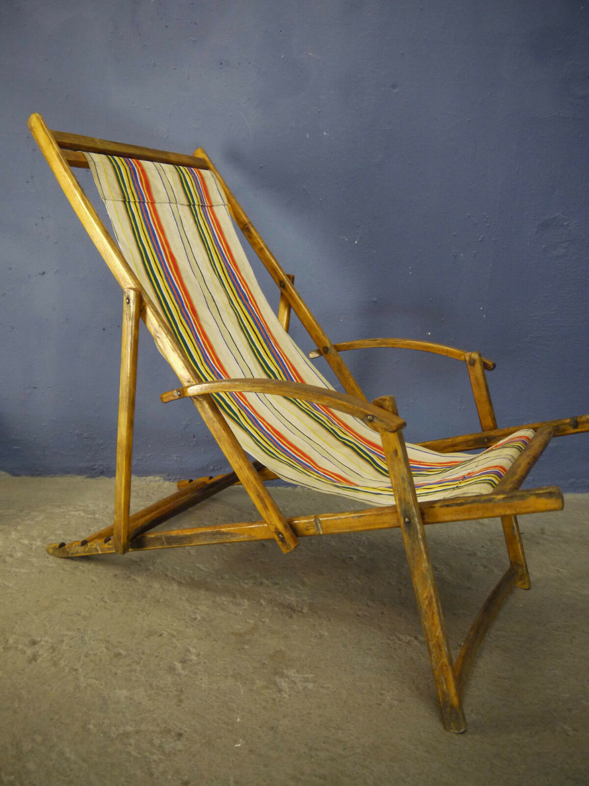VINTAGE ANTIQUE ART DECO MID CENTURY 1930s 1940s 1950s FOLDING DECK CHAIR PATIO