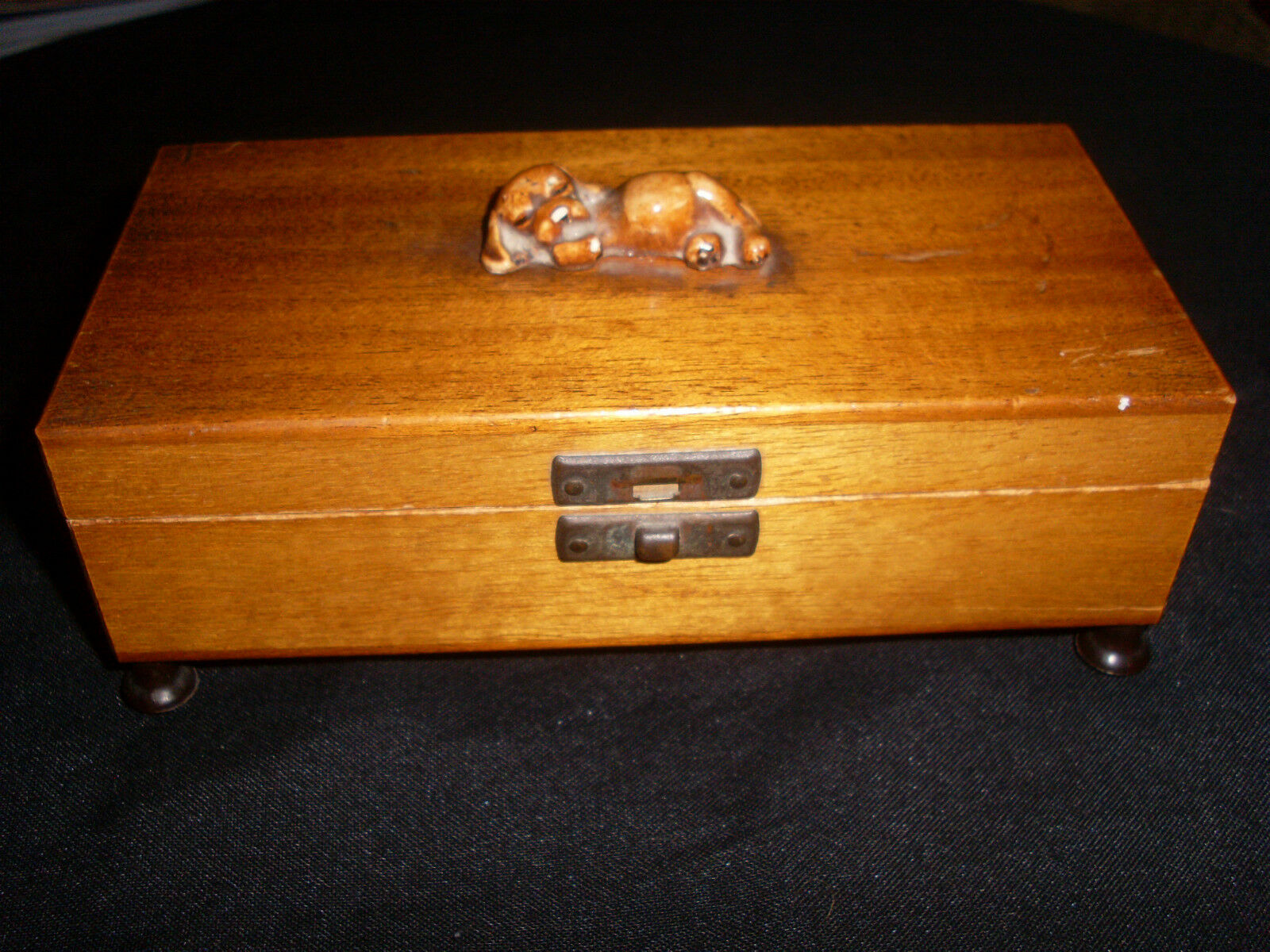 Vintage Satin (Walnut?)Wood Music Box With Ceramic Dog