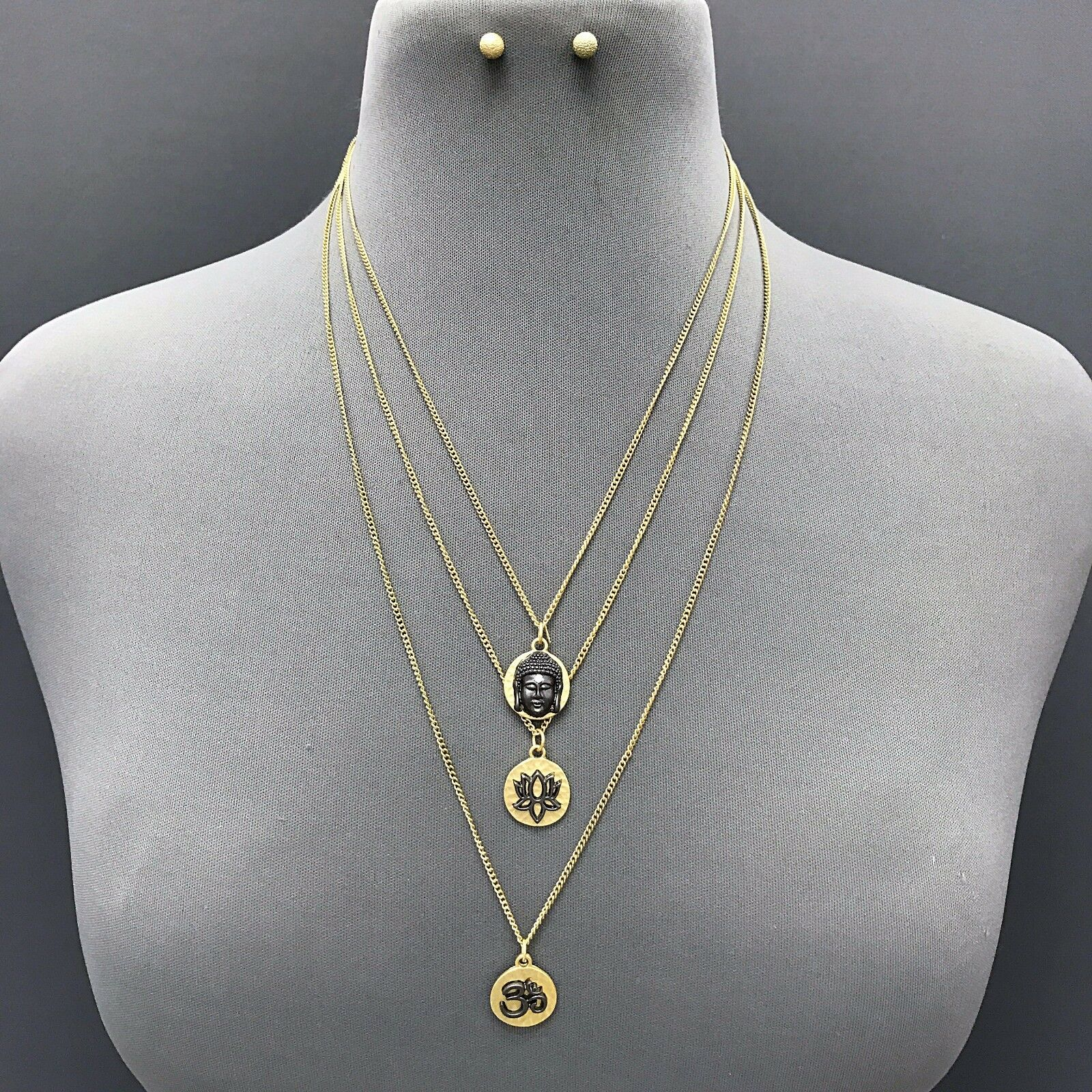 Gold Triple Layered Buddha Lotus Flower Charm Necklace With Earrings