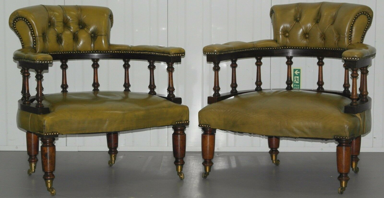 Pair Of Antique 1940 Chesterfield Mahogany Captains Chairs Occasional Armchairs