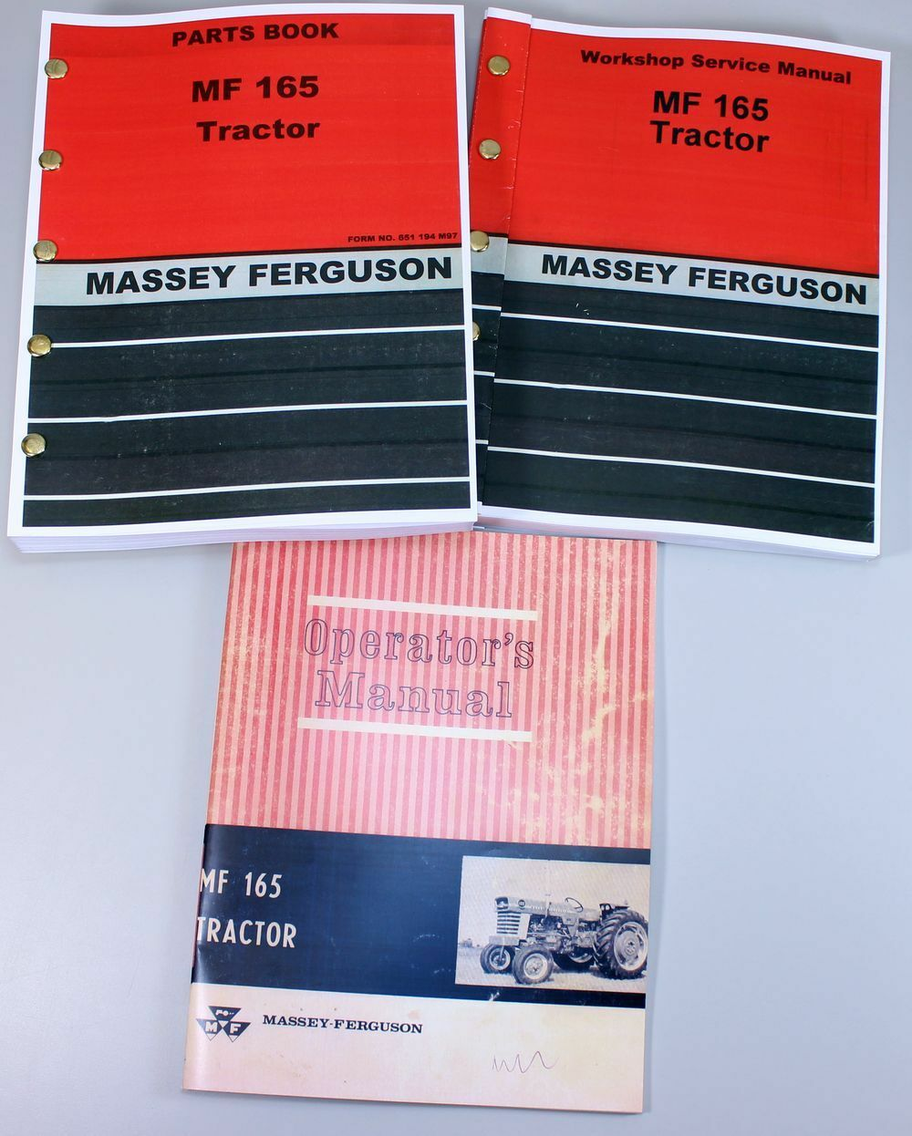 1 of 12FREE Shipping Set Massey Ferguson 165 Tractor Service Repair Owners  Operators Parts Manuals