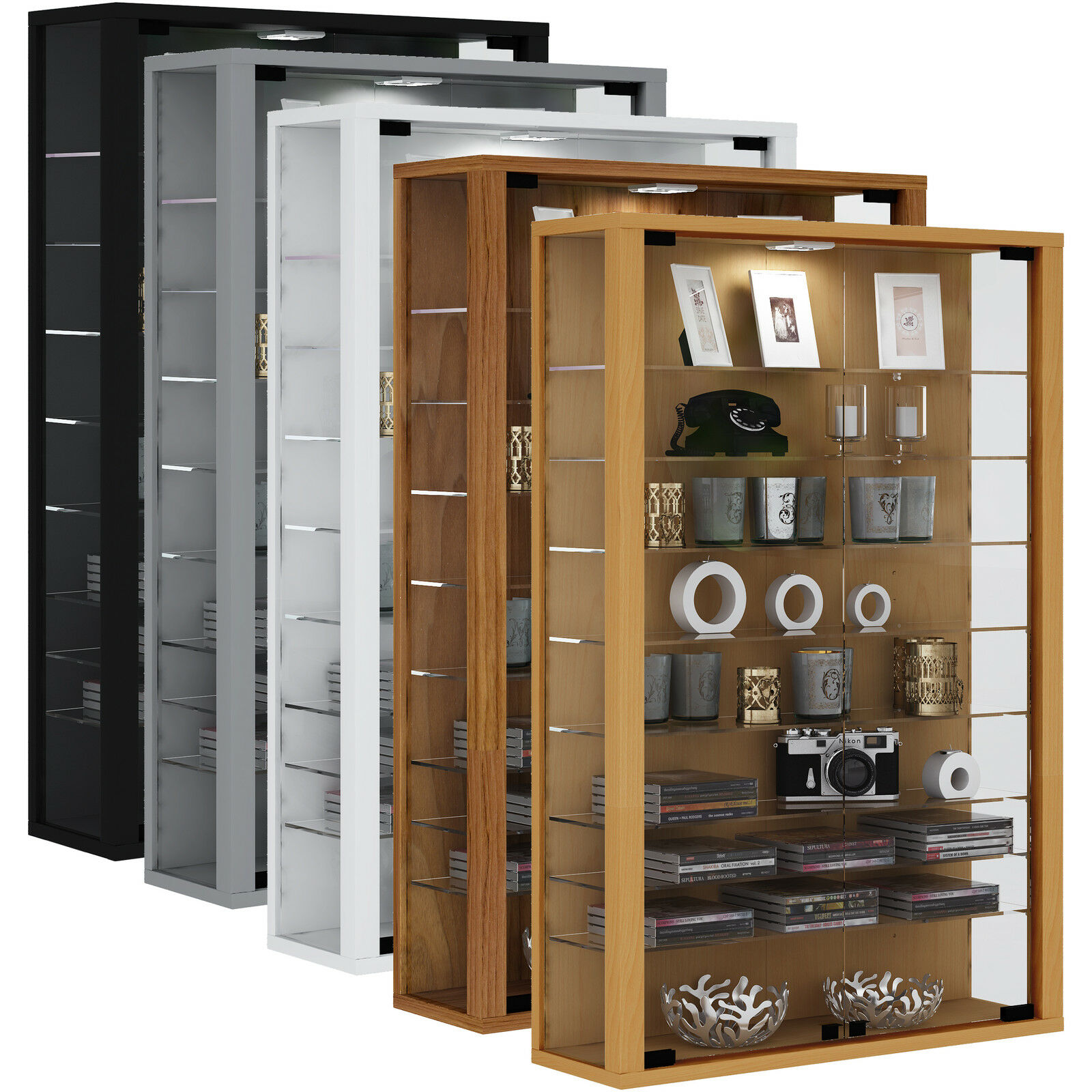 vcm wandvitrine sammelvitrine glasvitrine wand vitrine regal schrank glas eur 129 00 picclick de. Black Bedroom Furniture Sets. Home Design Ideas