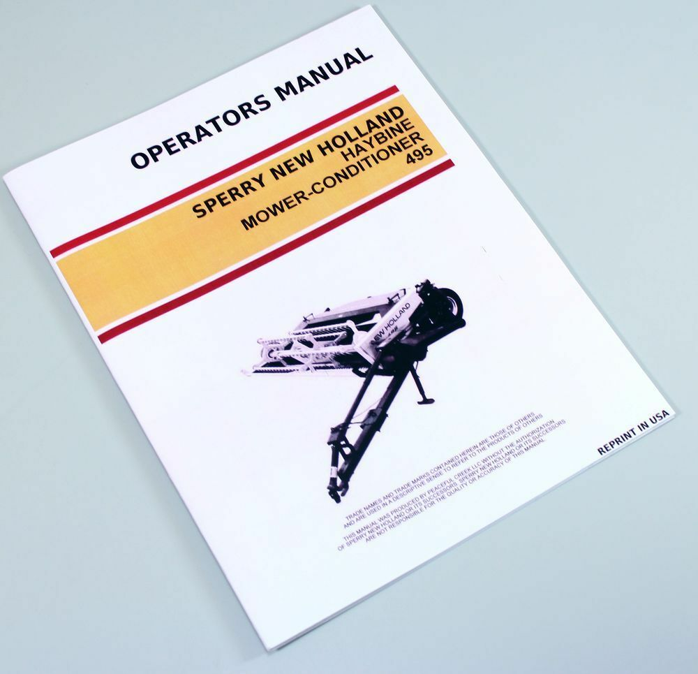 Sperry New Holland 495 Haybine Mower Conditioner Owner Operators Manual