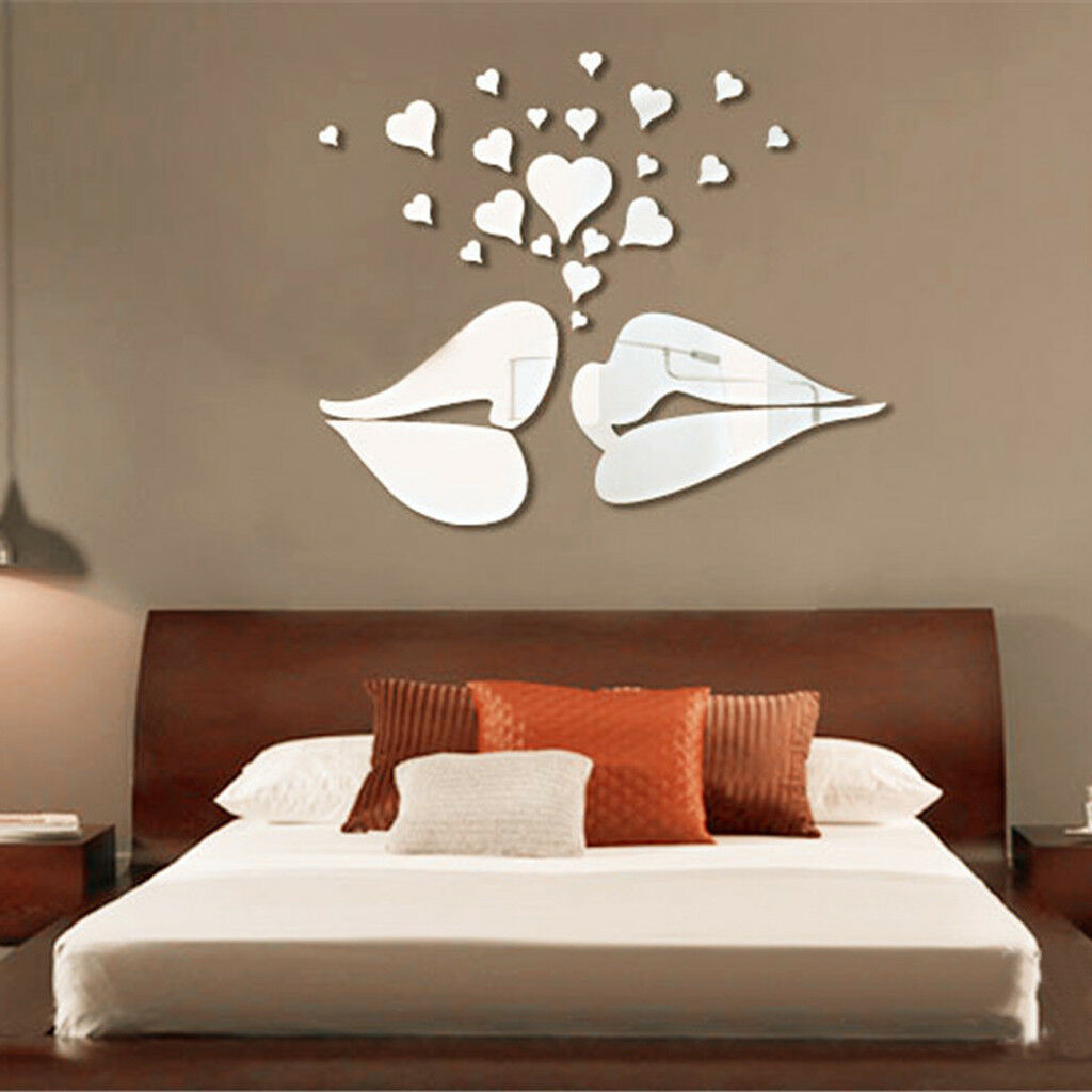 Mirror lips hearts style decal art mural living room wall for Silver bedroom wall art