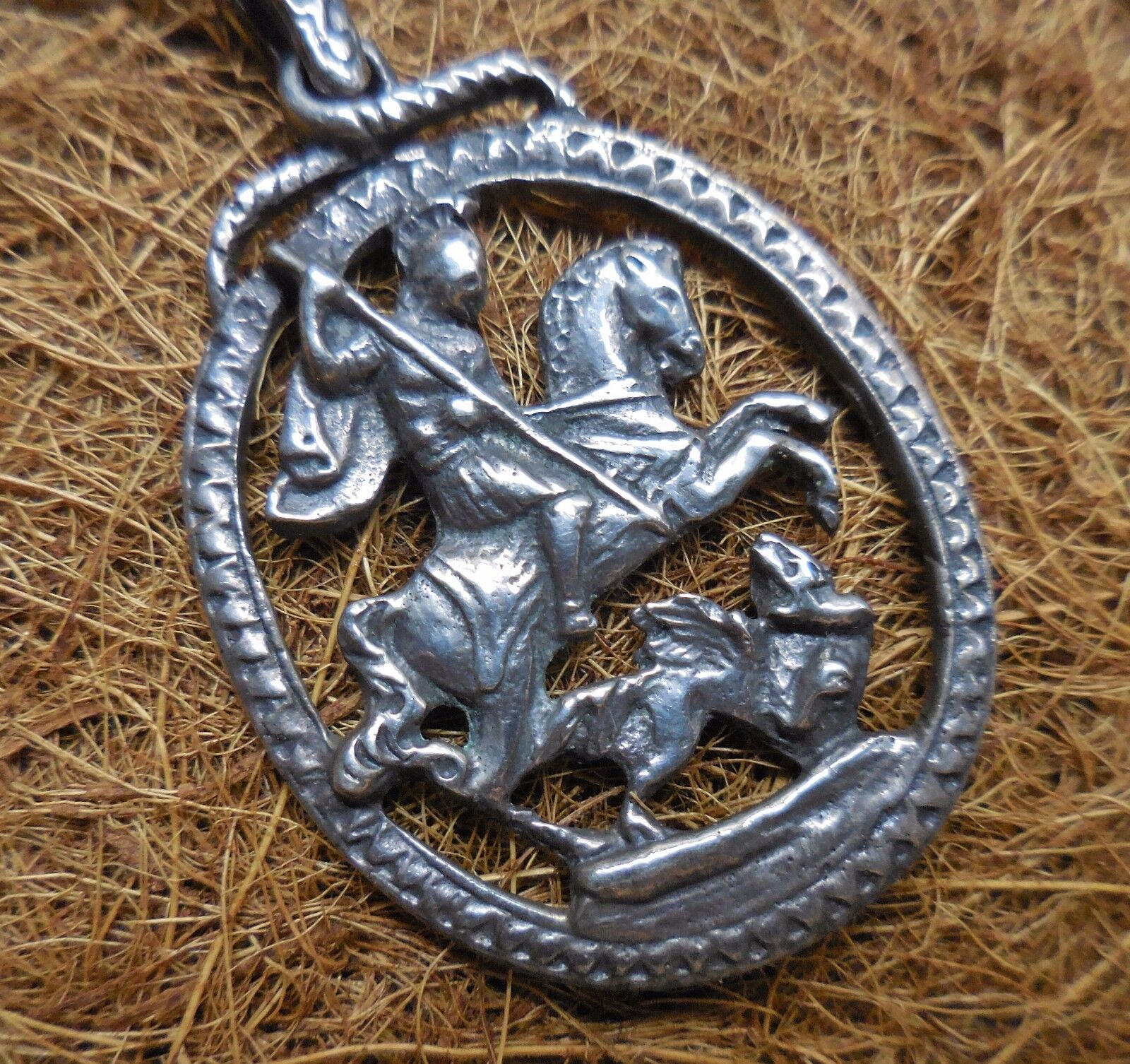 double link bracelet pendant itm chain george st belcher dragon and coin box sterling silver gift medallion the solid