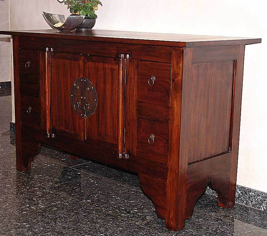Massiv sideboard kommode schrank holz kolonial massivholz for Kommode kolonialstil