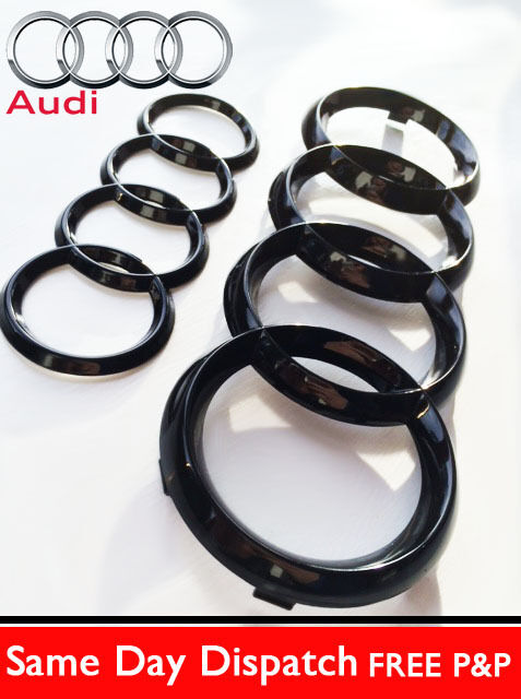 audi a6 a7 s7 q3 5 q7 gloss black rear front rings letters emblems bonnet boot chf. Black Bedroom Furniture Sets. Home Design Ideas