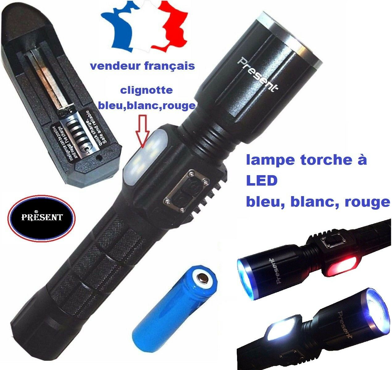 lampe torche rechargeable usb led bleu blanc rouge eur. Black Bedroom Furniture Sets. Home Design Ideas